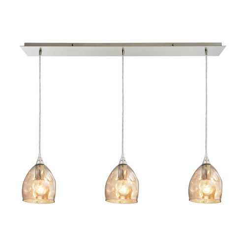 ELK Lighting 31595/3LP Niche 3-Light Linear Mini Pendant Fixture in Satin Nickel with Champagne-plated Glass