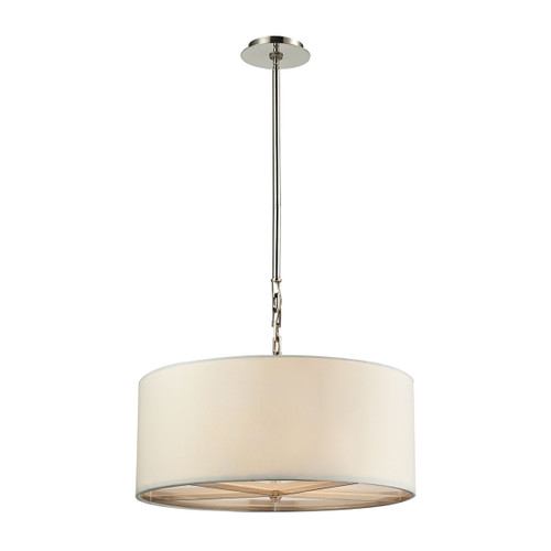 ELK Lighting 31651/5 Selma 5-Light Chandelier in Polished Nickel with White Fabric Shade
