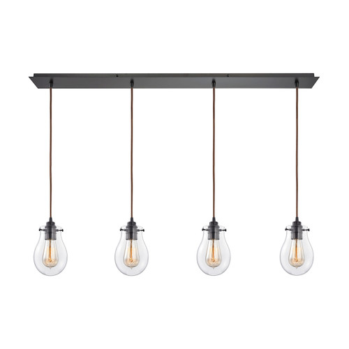 ELK Lighting 31934/4LP Jaelyn 4-Light Linear Pendant Fixture in Oil Rubbed Bronze with Clear Glass