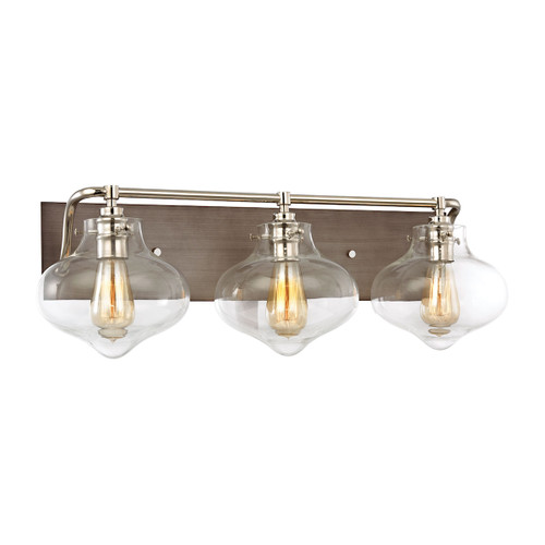 ELK Lighting 31942/3 Kelsey 3-Light Vanity Sconce in Polished Nickel and Weathered Zinc with Clear Glass