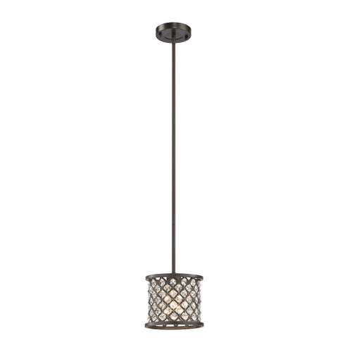 ELK Lighting 32102/1 Genevieve 1-Light Mini Pendant in Oil Rubbed Bronze with Crystal and Mesh Shade