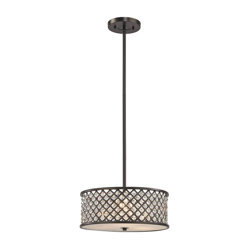 ELK Lighting 32104/3 Genevieve 3-Light Chandelier in Oil Rubbed Bronze with Crystal and Mesh Shade