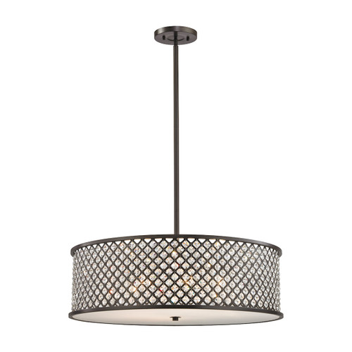 ELK Lighting 32106/6 Genevieve 6-Light Chandelier in Oil Rubbed Bronze with Crystal and Mesh Shade