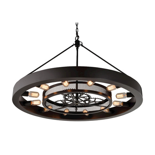 ELK Lighting 32237/12 Chronology 12-Light Chandelier in Oil Rubbed Bronze with Clear Glass Diffuser