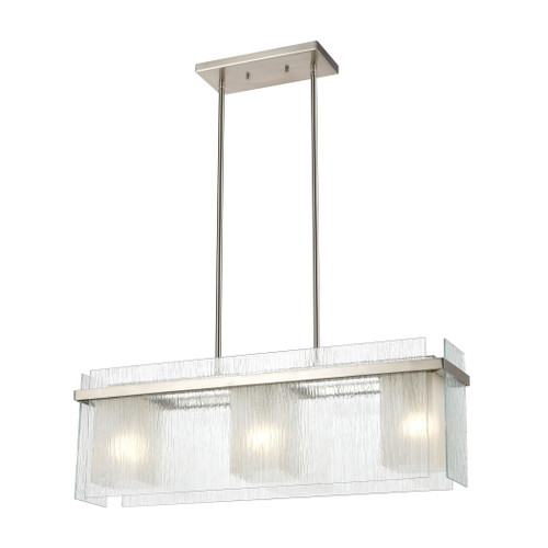 ELK Lighting 32329/3 Vellis 3-Light Island Light in Satin Nickel with Textured Clear and Frosted Glass
