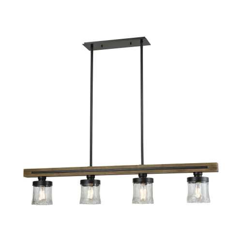 ELK Lighting 33071/4 Timberwood 4-Light Island Light in Oil Rubbed Bronze with Clear Hand-formed Glass