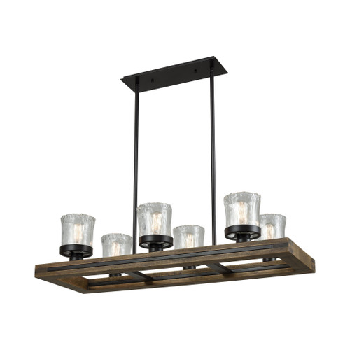 ELK Lighting 33072/6 Timberwood 6-Light Linear Chandelier in Oil Rubbed Bronze with Clear Hand-formed Glass