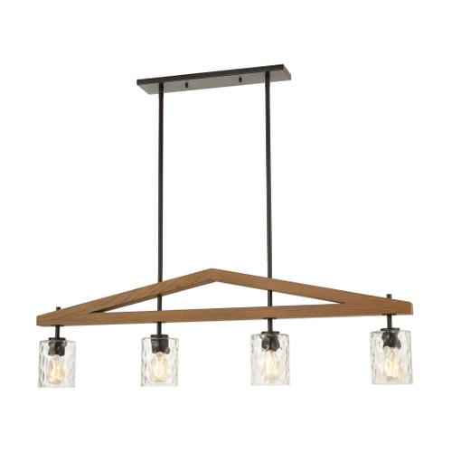ELK Lighting 33305/4 A-Frame 4-Light Island Light in Oil Rubbed Bronze and Medium Oak with Water Glass