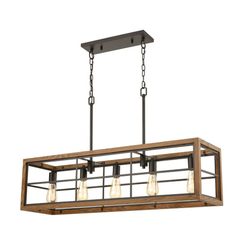 ELK Lighting 33316/5 Warehouse Window 5-Light Island Light in Oil Rubbed Bronze and Medium Oak