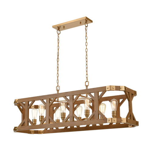 ELK Lighting 33325/8 Structure 8-Light Island Light in Satin Brass and Medium Oak