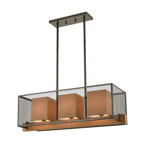 ELK Lighting 33346/3 Crossbeam 3-Light Island Light in Oil Rubbed Bronze and Medium Oak with Dark Beige Fabric Shades