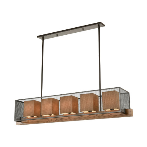 ELK Lighting 33347/5 Crossbeam 5-Light Island Light in Oil Rubbed Bronze and Medium Oak with Dark Beige Fabric Shades