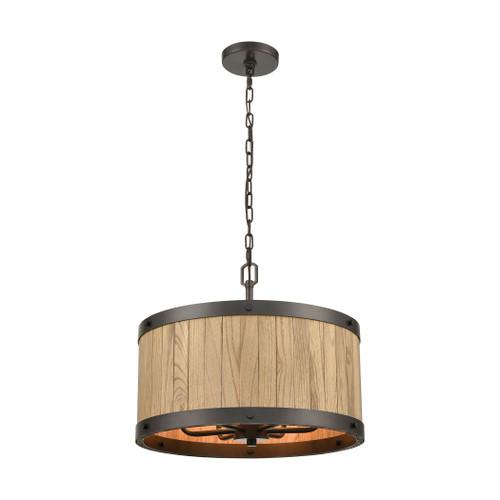 ELK Lighting 33364/6 Wooden Barrel 6-Light Chandelier in Oil Rubbed Bronze with Slatted Wood Shade in Natural