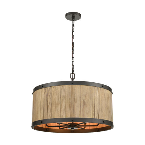 ELK Lighting 33366/6 Wooden Barrel 6-Light Chandelier in Oil Rubbed Bronze with Slatted Wood Shade in Natural