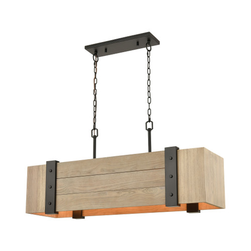 ELK Lighting 33386/5 Wooden Crate 5-Light Island Light in Oil Rubbed Bronze with Slatted Wood Shade in Natural