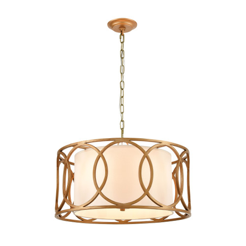 ELK Lighting 33425/4 Ringlets 4-Light Chandelier in Golden Silver with White Fabric Shade