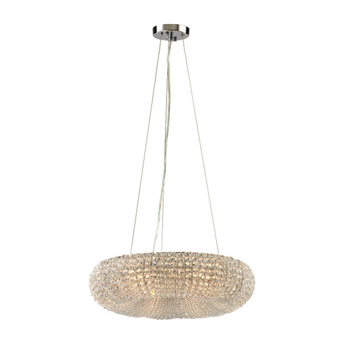 ELK Lighting 45291/6 Crystal Ring 6-Light Chandelier in Chrome with Clear Crystal Beads