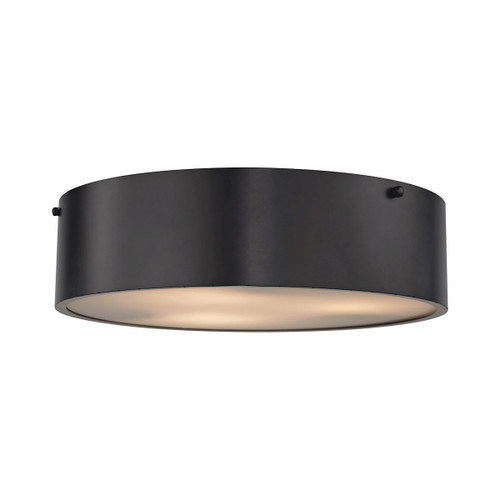 ELK Lighting 45320/3 Clayton 3-Light Flush Mount in Oiled Bronze with Black Shade