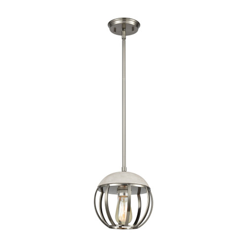 ELK Lighting 45337/1 Urban Form 1-Light Mini Pendant in Brushed Black Nickel with Concrete and Metal Cage