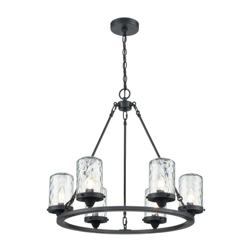 ELK Lighting 45406/6 Torch 6-Light Outdoor Chandelier in Charcoal with Water Glass