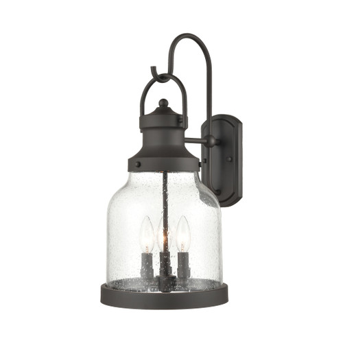 ELK Lighting 45422/3 Renford 3-Light Outdoor Sconce in Architectural Bronze with Seedy Glass