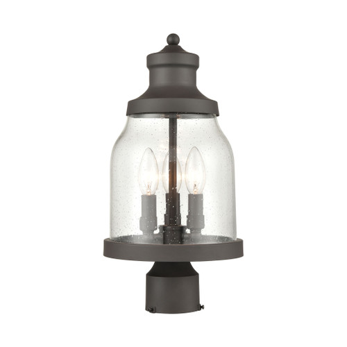 ELK Lighting 45424/3 Renford 3-Light Outdoor Post Mount in Architectural Bronze with Seedy Glass