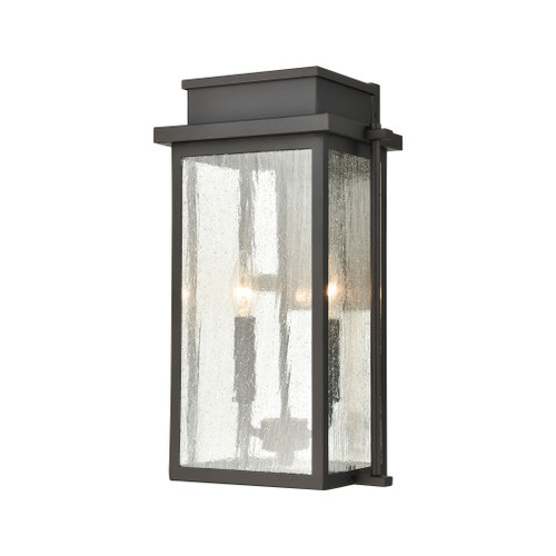 ELK Lighting 45441/2 Braddock 2-Light Outdoor Sconce in Architectural Bronze with Seedy Glass Enclosure