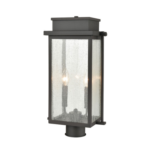 ELK Lighting 45444/2 Braddock 2-Light Outdoor Post Mount in Architectural Bronze with Seedy Glass Enclosure
