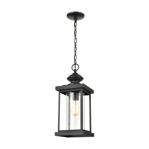 ELK Lighting 45453/1 Minersville 1-Light Outdoor Pendant in Matte Black with Antique Speckled Glass