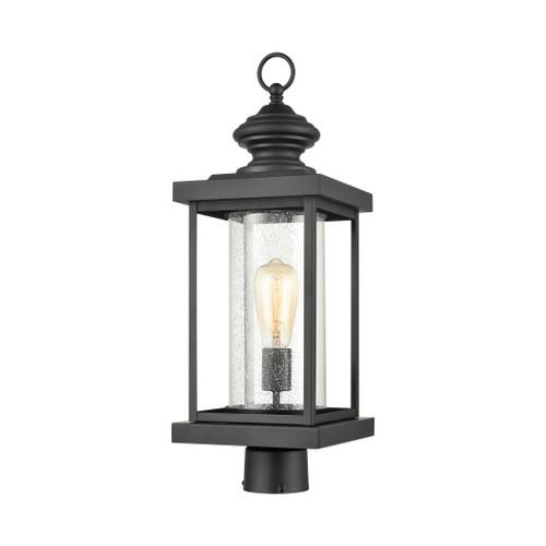 ELK Lighting 45454/1 Minersville 1-Light Outdoor Post Mount in Matte Black with Antique Speckled Glass
