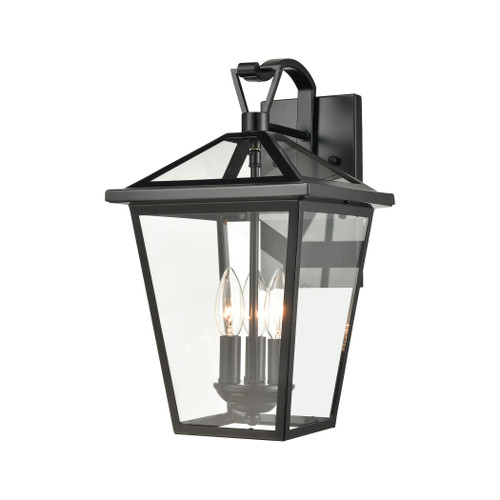 ELK Lighting 45471/3 Main Street 3-Light Outdoor Sconce in Black with Clear Glass Enclosure