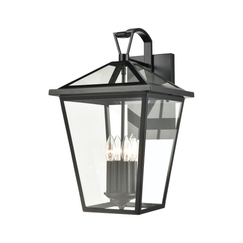 ELK Lighting 45472/4 Main Street 4-Light Outdoor Sconce in Black with Clear Glass Enclosure