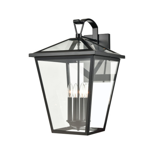 ELK Lighting 45473/4 Main Street 4-Light Outdoor Sconce in Black with Clear Glass Enclosure