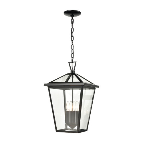 ELK Lighting 45474/4 Main Street 4-Light Outdoor Pendant in Black with Clear Glass Enclosure