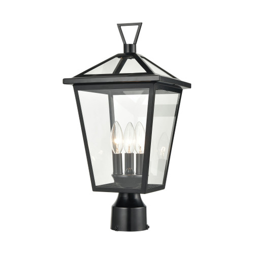 ELK Lighting 45475/3 Main Street 3-Light Outdoor Post Mount in Black with Clear Glass Enclosure