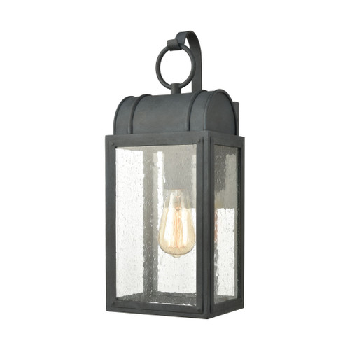 ELK Lighting 45481/1 Heritage Hills 1-Light Outdoor Sconce in Aged Zinc with Seedy Glass Enclosure