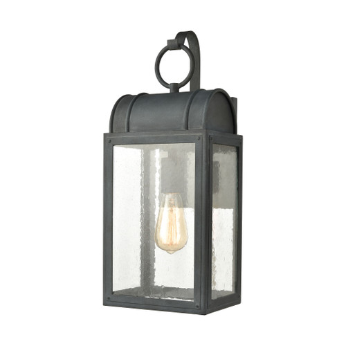 ELK Lighting 45482/1 Heritage Hills 1-Light Outdoor Sconce in Aged Zinc with Seedy Glass Enclosure