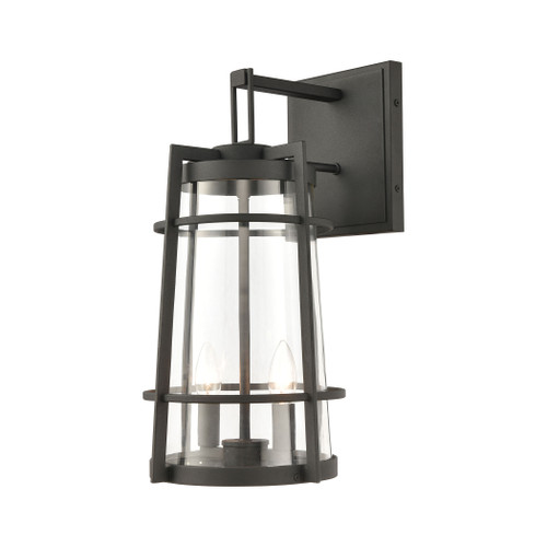 ELK Lighting 45492/2 Crofton 2-Light Outdoor Sconce in Charcoal with Clear Glass