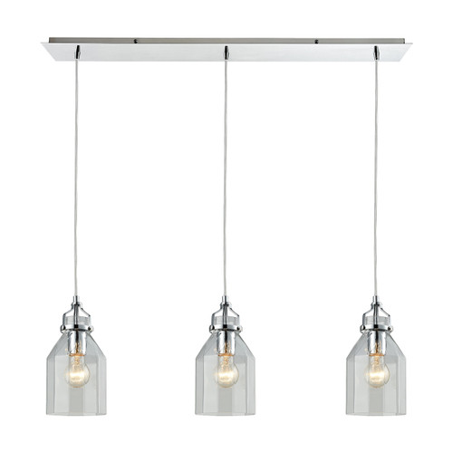 ELK Lighting 46019/3LP Danica 3-Light Linear Mini Pendant Fixture in Polished Chrome with Clear Glass
