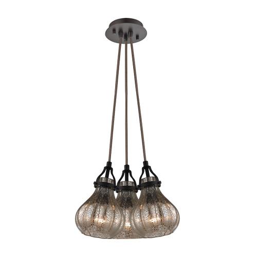 ELK Lighting 46024/3SR Danica 3-Light Nesting Pendant Fixture in Oil Rubbed Bronze with Mercury Glass