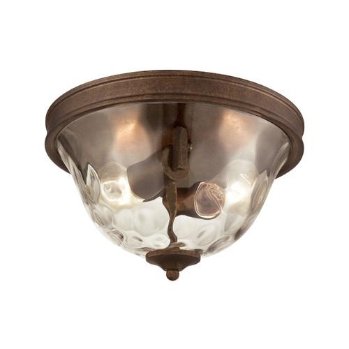 ELK Lighting 46028/2 Cheltham 2-Light Flush Mount in Mocha with Clear Water Glass