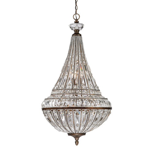 ELK Lighting 46048/6+3 Empire 6+3-Light Chandelier in Mocha with Crystal and Glass Beads