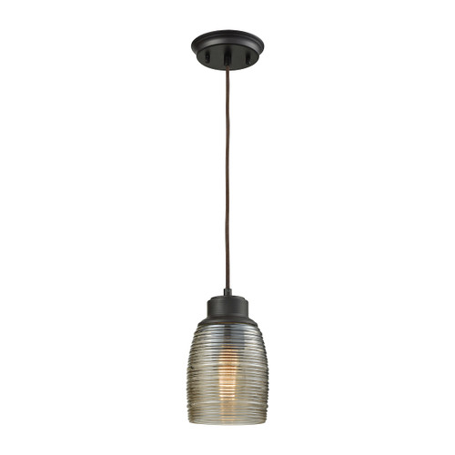 ELK Lighting 46216/1 Muncie 1-Light Mini Pendant in Oil Rubbed Bronze with Champagne-plated Spun Glass