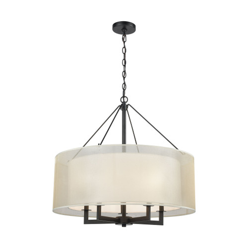 ELK Lighting 46268/5 Ashland 5-Light Chandelier in Matte Black with Webbed Organza and White Fabric Shade
