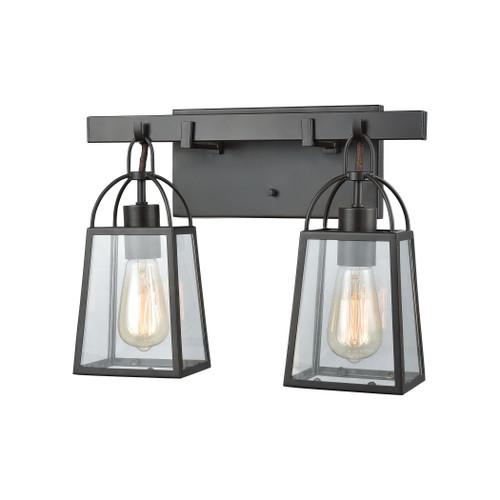 ELK Lighting 46271/2 Barnside 2-Light Vanity Lamp in Oil Rubbed Bronze with Clear Glass Panels