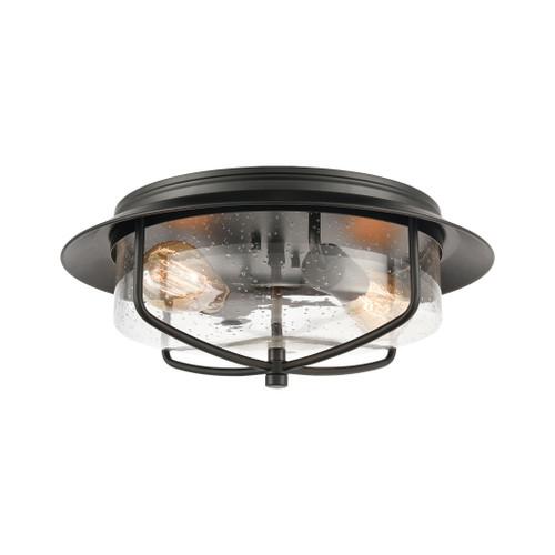 ELK Lighting 46402/2 Lakeshore Drive 2-Light Flush Mount in Matte Black with Seedy Glass