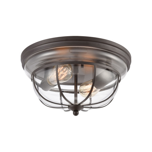 ELK Lighting 46564/2 Manhattan Boutique 2-Light Flush Mount in Oil Rubbed Bronze with Clear Glass