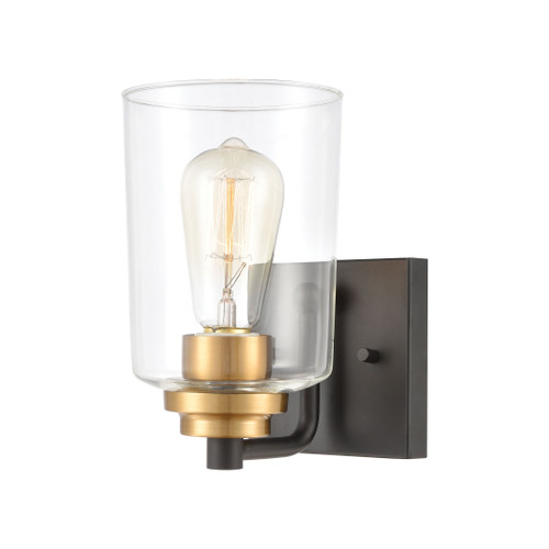 ELK Lighting 46610/1 Robins 1-Light Vanity Light in Matte Black with Clear Glass