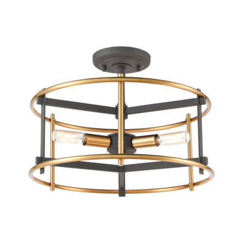ELK Lighting 46651/3 Millington 3-Light Semi Flush Mount in Charcoal