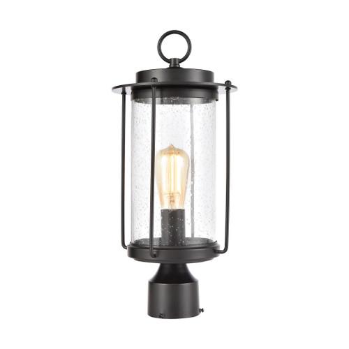 ELK Lighting 46663/1 Devonshire 1-Light Post Mount in Matte Black with Seedy Glass